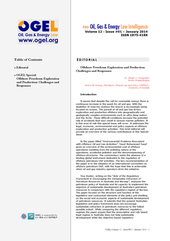 OGEL 1 (2014 - Special: Offshore Petroleum Exploration and Production: Challenges and Responses