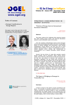 OGEL 5 (2018 - OGEL/TDM/ArbitralWomen - Strategic Considerations in Energy Disputes