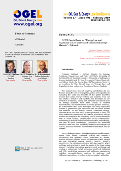 OGEL 1 (2019 - Energy Law and Regulation in Low-carbon and Transitional Energy Markets