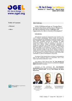 OGEL 4 (2019 - OGEL/TDM Special Issue: FDI Operations and Investment Disputes in the African Extractive Sector...